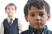 Two kids with expression on faces — Stock Photo