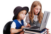 Children activities on laptop put on des — Stock Photo