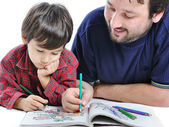 Father and son painting — Stock Photo