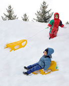 Great activity on snow, children and hap — Stock Photo