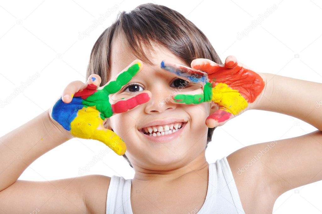 Messy hands, childhood  — Stock Photo #1768400