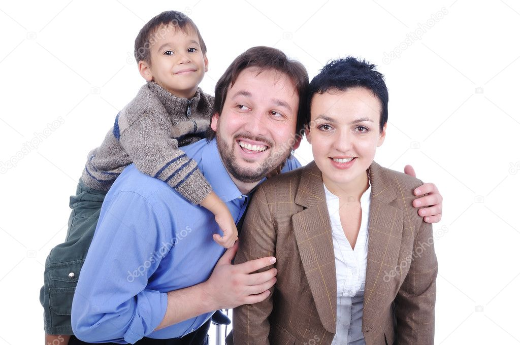  Very beautiful happy family, 3 members   Stock Photo #1768646