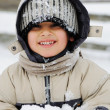 Young beautiful boy outdoor in winter — Stock Photo