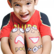 Positive kid with arts on his body — Stock Photo