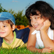 Two happy children on meadow — Stock Photo