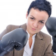 Attractive sexy woman with boxing gloves — Stock Photo