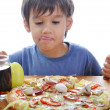 Stock Photo: Prepared pizzwith many colors on and s