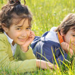 Stock Photo: Happy childhood on green beautiful meado