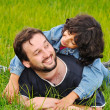 Stock Photo: Young father and little cute girl, happi