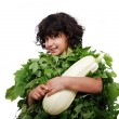 Little cute girl in leaves dress isolate — Stock Photo #1833364
