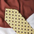 Man fashion tie on silk white and brown — Stock Photo