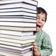 Stock Photo: Big tower of many books vertical and k