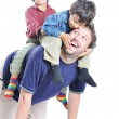 Happy young father with his children — Stock Photo