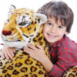 Big wild animal but toy on isolated back — Stock Photo