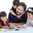 Foto Stock: Happy family with several members in education p