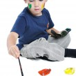 A little cute child with colors on white — Stock Photo #1834122