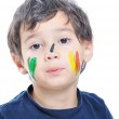 A little cute child with colors on white — Stock Photo #1834127