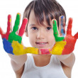 A little cute child with colors on white - Stock Photo