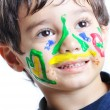 A little cute child with several colors — Stock Photo #1834220