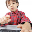 A little cute kid with a laptop isolated — Stock Photo #1834308