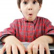 Foto Stock: Little cute kid with laptop isolated