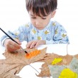 A little sweet boy painting on leaves — Stock Photo
