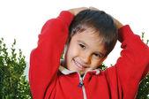 Positive kid outdoor — Stock Photo