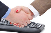 Overeenkomst tussen vrouw en man, keywoard — Stockfoto