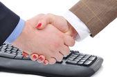 överenskommelsen mellan kvinna och man, keywoard — Stockfoto