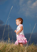 Little cute girl walking on meadow — Stock Photo