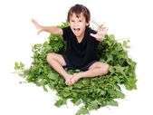 A little cute kid sitting on green leave — Stock Photo