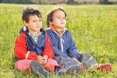 Happy childhood on green beautiful meado — Stock Photo
