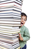 A big tower of many books vertical and k — Stock Photo