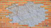 Standard brick wall, orange color, with — Stock Photo