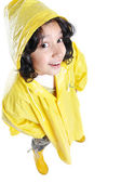 Little cute girl with yellow hood isolated — Stock Photo