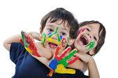 Malé roztomilé dítě s několika barvami — Stock fotografie