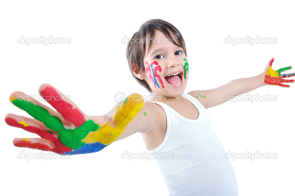 A little cute child with several colors on white — Stock Photo #1834243