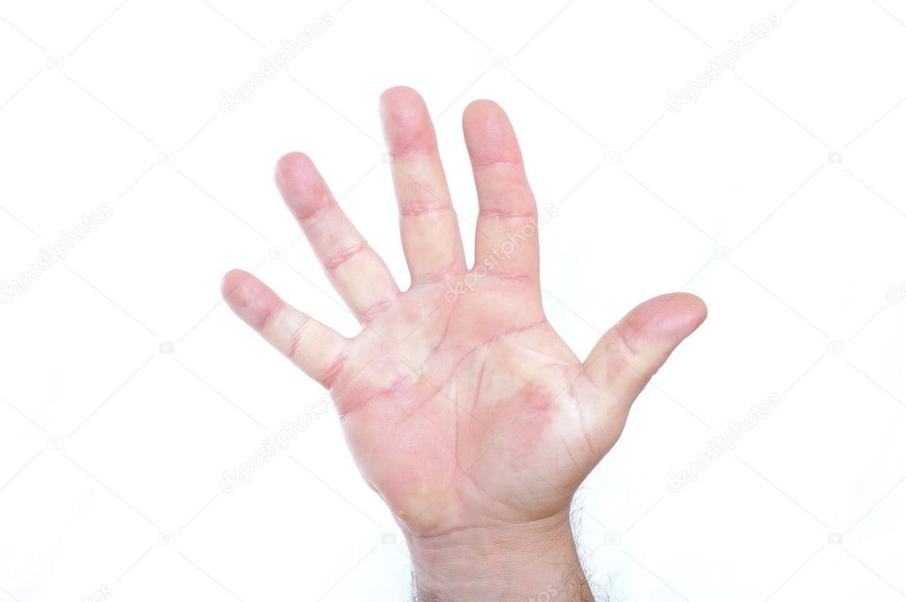 A male fist on white isolated background, number — Stock Photo #1834366