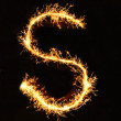 Stock Photo: Letter S made of sparklers isolated