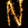 Letter N made of sparklers isolated — Stock Photo