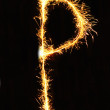 Letter P made of sparklers isolated — Stock Photo