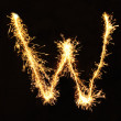 Letter W made of sparklers isolated — Foto de Stock