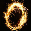 Digit 0 made of sparklers — Stock Photo