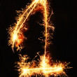 Digit 1 made of sparklers — Stock Photo