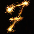 Stock Photo: Digit 7 made of sparklers