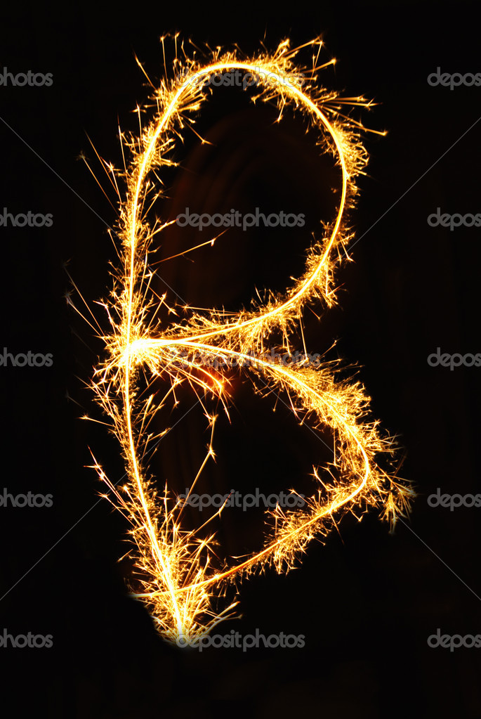 Letter B made of sparklers isolated — Stock Photo #1617583