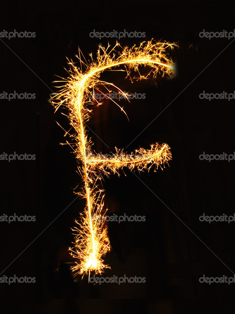 Letter F made of sparklers isolated — Foto Stock #1617606