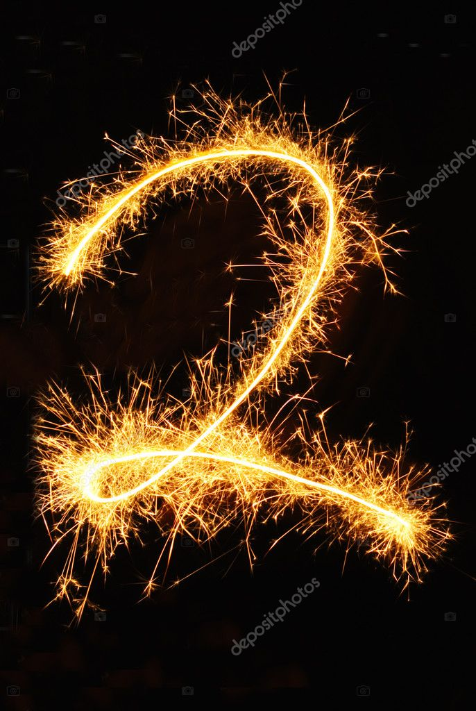 Digit 2 made of sparklers  Stock Photo #1617615