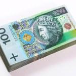 Stack of polish Zloty bills isolated — Stock Photo