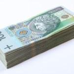 Stack of polish Zloty bills on white — Stock Photo